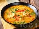 Рецепта Рибена супа / чорба от бяла риба хек или мерлуза с червена къри паста, яйца и кокосова сметана
